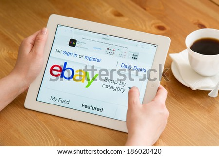 Samara, Russia - April 07, 2014: Close up of ebay's website on a ipad screen. ebay is one of the largest online auction and shopping websites announces a new application for mobile devices - stock photo