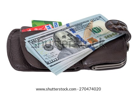 SAMARA, RUSSIA - APRIL 17, 2015: Wallet with american dollars and credit cards, isolated on white - stock photo