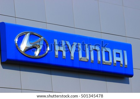 Samara, Russia - August 30, 2016. a sign with the logo and the inscription automaker HYUNDAI on the building of a specialized auto center