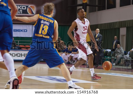 SAMARA, RUSSIA - DECEMBER 17: Aaron Miles of BC Krasnye Krylia, with ball, is on the attack during a BC Khimki game on December 17, 2012 in Samara, Russia.