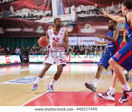 SAMARA, RUSSIA DECEMBER 01: BC Krasnye Krylia guard Aaron Miles (32), with ball, is on the attack during the BC CSKA game on December 01, 2013 in Samara, Russia.