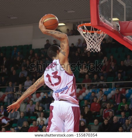 SAMARA, RUSSIA - DECEMBER 17: Chester Simmons of BC Krasnye Krylia makes slam dunk in the game against BC Khimki on December 17, 2012 in Samara, Russia.