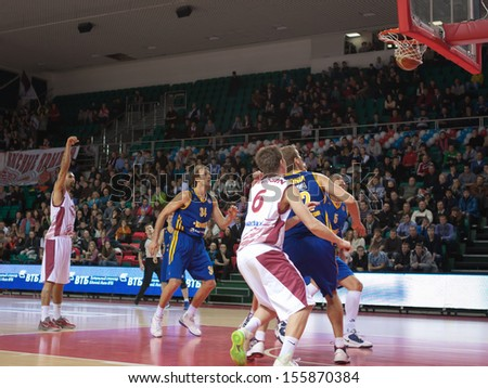 SAMARA, RUSSIA - DECEMBER 17: Chester Simmons of BC Krasnye Krylia scored a goal from the free throw line in a game against BC Khimki on December 17, 2012 in Samara, Russia. - stock photo