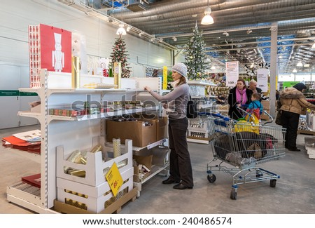SAMARA, RUSSIA - DECEMBER 27, 2014: Interior of the IKEA Samara Store. IKEA is the world's largest furniture retailer, founded in Sweden in 1943 - stock photo