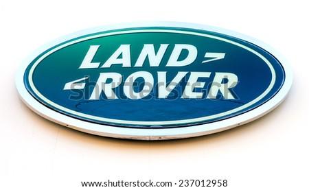 SAMARA, RUSSIA - DECEMBER 6, 2014: Land Rover dealership sign. Land Rover is a brand of the British car manufacturer Jaguar Land Rover - stock photo