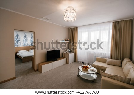 SAMARA, RUSSIA, 12 DECEMBER 2015 - Room of the brand new Lada Resort Hotel