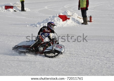 SAMARA, RUSSIA - FEBRUARY 19: Unidentified rider in action during training at Russia speedway championship on February 19, 2011 in Samara, Russia.