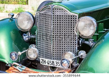 SAMARA, RUSSIA - JUNE 16, 2015: The front part of a retro car Packard Convertible Sedan 1934 year - stock photo