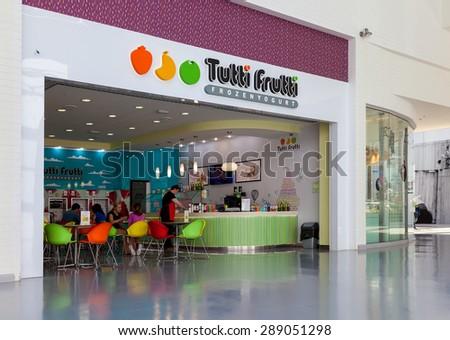SAMARA, RUSSIA - JUNE 13, 2015: Tutti Frutti Frozen Yogurt branch in a shopping center Ambar. Tutti Frutti Frozen Yogurt is an international retail brand of self-serve frozen yogurt - stock photo