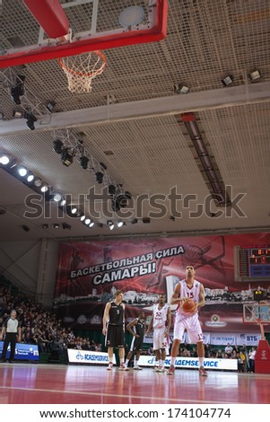 SAMARA, RUSSIA - MARCH 09: Chester Simmons of BC Krasnye Krylia gets ready to throw from the free throw line in a game against BC Kalev on March 09, 2013 in Samara, Russia.