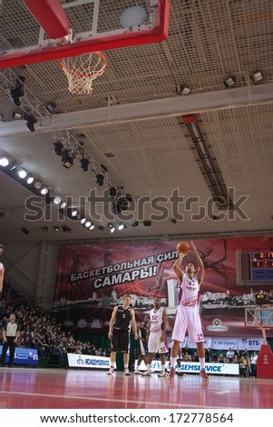 SAMARA, RUSSIA - MARCH 09: Chester Simmons of BC Krasnye Krylia throws from the free throw line in a game against BC Kalev on March 09, 2013 in Samara, Russia.