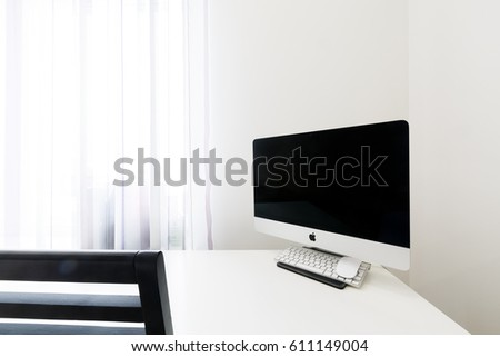 Samara, Russia - March, 2017: Imac computer on white table. Imac is created and produced by Apple Inc.