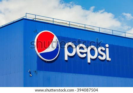 SAMARA, RUSSIA - MARCH 20, 2016: Logotype of Pepsi Corporation against the blue sky. PepsiCo Inc. is an American multinational food, snack and beverage corporation