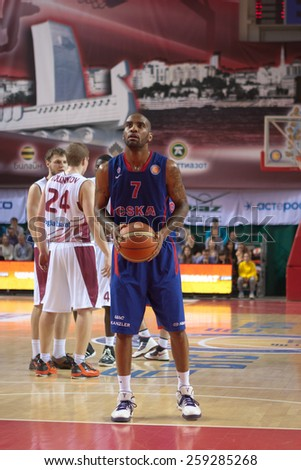 SAMARA, RUSSIA - MAY 20: Aaron Jackson of BC CSKA gets ready to throw from the free throw line in a game against BC Krasnye Krylia on May 20, 2013 in Samara, Russia. - stock photo