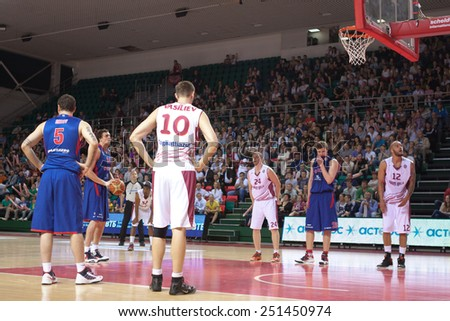 SAMARA, RUSSIA - MAY 19: Alexander Kaun of BC CSKA gets ready to throw from the free throw line in a game against BC Krasnye Krylia on May 19, 2013 in Samara, Russia. - stock photo