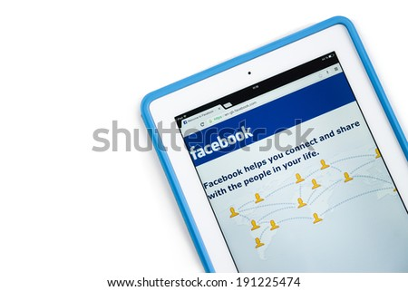 Samara, Russia - May 04, 2014: Close up of facebook website on a ipad screen. facebook is one of the largest social network in the world announces a new application for mobile devices - stock photo