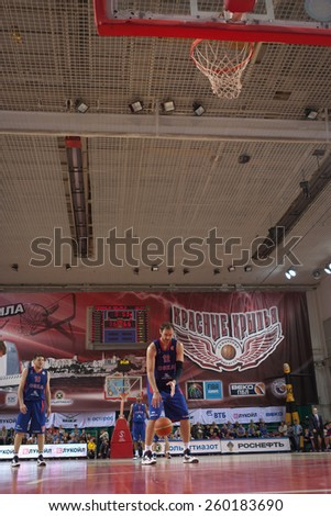 SAMARA, RUSSIA - MAY 20: Nenad Krstic of BC CSKA gets ready to throw from the free throw line in a game against BC Krasnye Krylia on May 20, 2013 in Samara, Russia. - stock photo