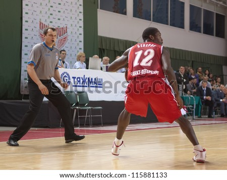 SAMARA, RUSSIA - MAY 03: Patrick Beverley of BC Spartak, with ball, is on the attack during a BC Krasnye Krylia game on May 03, 2012 in Samara, Russia.