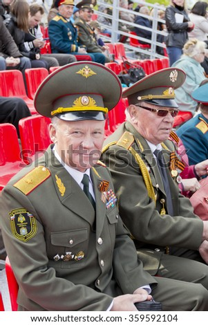 SAMARA, RUSSIA - MAY 9, 2015: Russian general on celebration at the parade on annual Victory Day, May, 9, 2015 in Samara, Russia