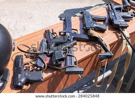 SAMARA, RUSSIA - MAY 30, 2015: Russian weapons. Samples of Russian small arms
