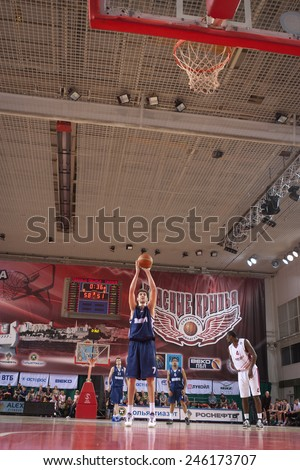 SAMARA, RUSSIA - MAY 03: Sergey Karasev of BC Triumph throws from the free throw line in a game against BC Krasnye Krylia on May 03, 2013 in Samara, Russia.