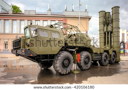 SAMARA, RUSSIA - MAY 9, 2016: The S-300 is a Russian anti-ballistic missile system at the central square during the parade on Victory Day