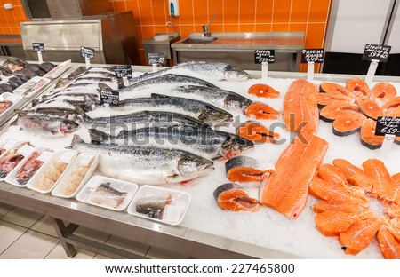 SAMARA, RUSSIA - OCTOBER 26, 2014: Raw fish ready for sale in the supermarket Magnit. One of largest retailer in Russia