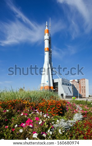 SAMARA, RUSSIA - SEPTEMBER 22: Real Soyuz spacecraft as monument on September 22, 2012 in Samara. Soyuz launch vehicle is the most frequently used launch vehicle in the world - stock photo