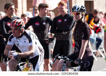 "SAMATAN, FRANCE- JULY 16: The famous cyclist Bernard Hinault for the film "" La Grande Boucle"" at the departure of the Tour de France, from Samatan to Pau, on July 16, 2012 in Samatan, France."