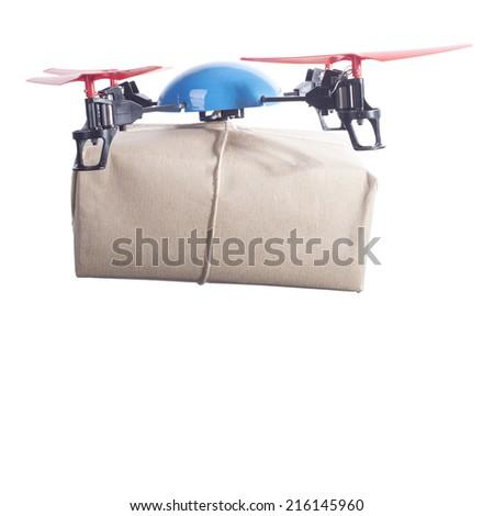 Same day delivery drone bringing packet par avion - stock photo