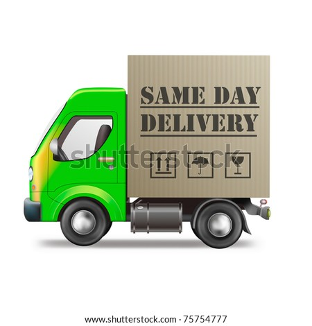 same day delivery truck with cardboard box package isolated on white