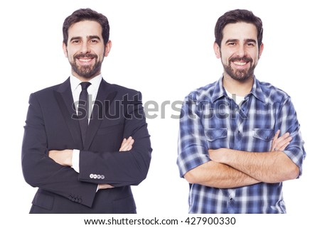 Same man dressed as casual man and business man, isolated on white background - stock photo