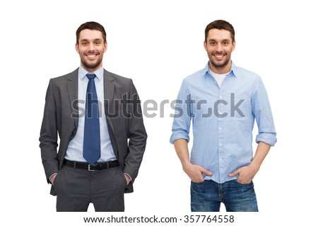 same man in different style clothes - stock photo