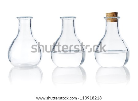 Same old fashioned glass bottle in three different stages.