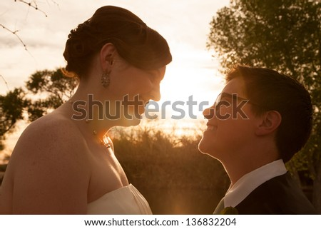 Same sex female bride and groom outdoors by sunset - stock photo
