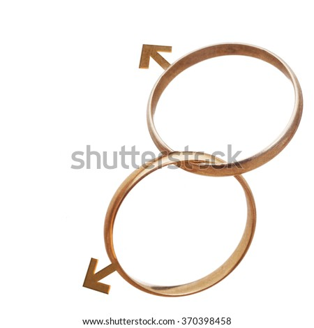 Same sex marriage, men, concept. Two wedding rings isolated on white. Gender issues.