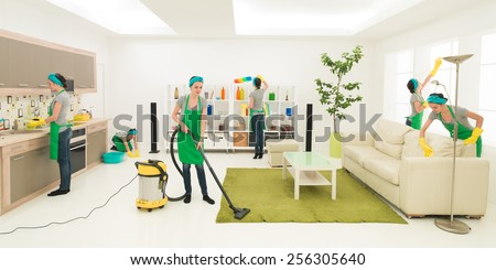 same woman cleaning living room, digital composite image - stock photo