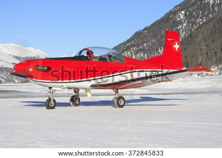 Samedan/Switzerland Januar 12, 2012: Pilatus PC-7 of the Swiss Air Force display team.