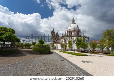 Sameiro Cathedral in Braga, Portugal - stock photo