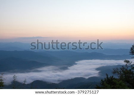 Samer doa mountain on moring see mist at NAN, Thailand
