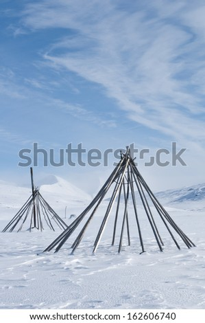 Sami Tent Scaffolds Padjelanta Nationalpark World Heritage Laponia Norrbotten Lappland Sweden & Sami Tent Scaffolds Padjelanta Nationalpark World Stock Photo ...