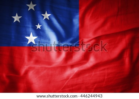 Samoa flag on grunge fabric-3D illustration