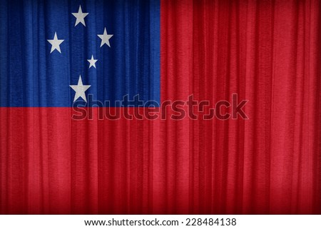 Samoa flag pattern on the fabric curtain,vintage style - stock photo