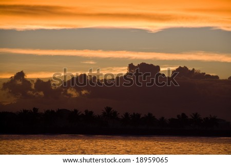 samoan sunset kitsch with ocean and palm trees