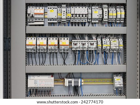 SAMOBOR, CROATIA - JANUARY 09, 2015: Cabinet with Siemens and Schrack electrical installations. Siemens and Schrack are one of the most known manufacturers of electrical installation and switches. - stock photo