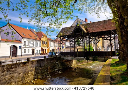 Samobor river and old wooden bridge, town in northern Croatia