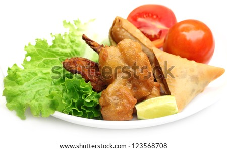 Samosa with mushroom snack with salad items - stock photo