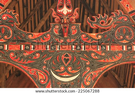 SAMOSIR, INDONESIA - MARCH 6: Detail of traditional Batak house on March 6, 2012  on Samosir island, Indonesia. Samosir is the fifth largest lake island in the world.  - stock photo