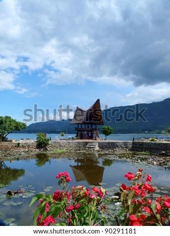 Samosir island and Lake Toba view - stock photo