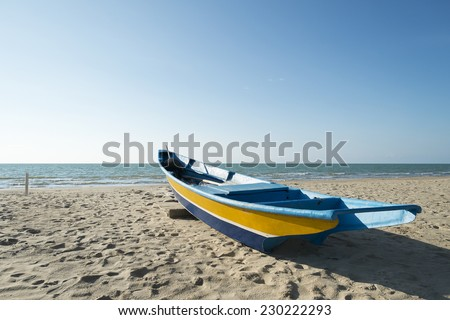 Sampan on the beach